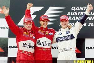 Ferrari teammates on the Australian GP podium, with Williams driver Ralf Schumacher