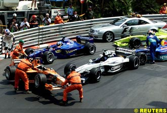 The traditional Monaco pile-up