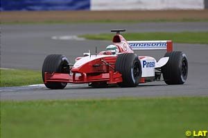 McNish testing the Toyota at Silverstone