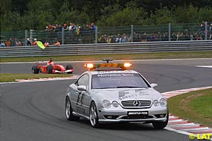 The Safety Car leading the field around before the red flag came out