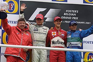 Ross Brawn, David Coulthard, Michael Schumacher and Giancarlo Fisichella