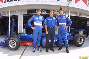 Prost with Luciano Burti and Heinz-Harald Frentzen