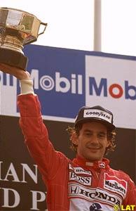 Senna celebrates victory in 1989