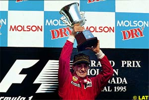 Alesi, after scoring his first and only victory, 1995 Canadian GP