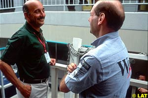 Jaguar boss Bobby Rahal with Adrian Newey