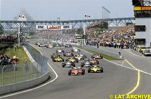 The start of the 1983 Canadian GP, with Piquet in third place in the Brabham