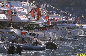 Luxury yachts are a view common in Monaco during the GP