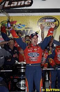 An ecstatic Jeff Gordon in victory lane after winning his third Daytona 500