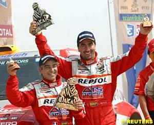 Car winners Jean-Paul Cottret and Stephane Peterhansel