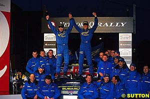 Richard Burns wins the WRC for Subaru/Prodrive