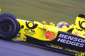 Jean Alesi in action at Silverstone, today